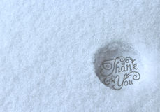 Thank you stamped in snow Royalty Free Stock Photo