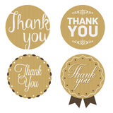 Thank You Sticker. Cardboard, White Print. Royalty Free Stock Photography
