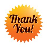 Thank you sticker (vector). Orange tag. Icon. Stock Image