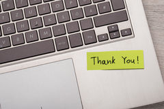 Thank You ! Sticky Note On Laptop Royalty Free Stock Photo