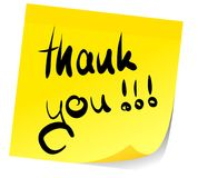 Thank you on sticky note. Words thank you written on yellow sticky note stock illustration