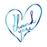 Thank you in the stylized heart shape. VECTOR colorful illustration on white. Blue and turquoise colors Royalty Free Stock Photo
