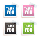 Thank you tag. Brightly colored paper tag with thank you text on them royalty free illustration