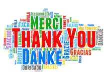 Thank you tag cloud. Thank you in different languages text cloud Stock Photo