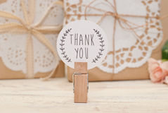 Thank you. Tag and gift Stock Images