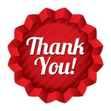 Thank you tag. Red round star sticker. Royalty Free Stock Image