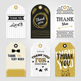 Thank You Tag Set. Colored thank you tag set in different shapes with thank you very much thank you for everything vector illustration Royalty Free Stock Photos