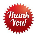 Thank you tag (vector). Red sticker. Icon for web. Stock Photography