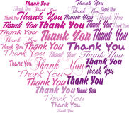 Thank you tagcloud - heart shape. Thank you tag cloud , heart shaped, different fonts, pink vector illustration