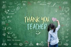 Thank You Teacher greeting for World teacher`s day concept with school student back view drawing doodle of of learning education