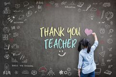 Thank You Teacher greeting for World teacher\'s day concept with school student back view drawing doodle