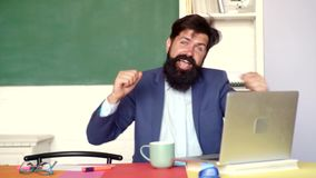 Thank You Teacher. Teachers challenges and inspires. Teachers day - knowledge and educational school concept. World. Teachers day. Portrait of male University stock video footage