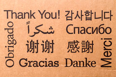 THANK YOU in ten languages Stock Image