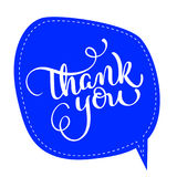 Thank you text on blue tag frame on background. Hand drawn Calligraphy lettering Vector illustration EPS10 Stock Image