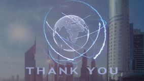 Thank you text with 3d hologram of the planet Earth against the backdrop of the modern metropolis. Futuristic animation concept vector illustration