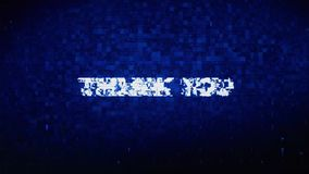 Thank You Text Digital Noise Twitch Glitch Distortion Effect Error Animation. royalty free illustration