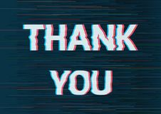 Thank you text with glitch effect. vector illustration
