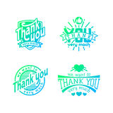 Thank you text lettering vector logo badge Stock Images