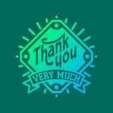 Thank you text lettering vector logo badge Stock Photos