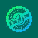 Thank you text lettering vector logo badge Royalty Free Stock Photos