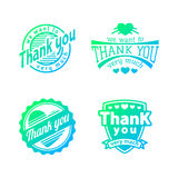 Thank you text lettering vector logo badge Royalty Free Stock Images