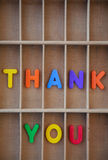 Thank you text letters in a vintage letter case Royalty Free Stock Photo