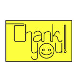 Thank you text. Thank you line text on yellow background Stock Illustration