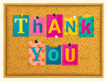 Thank you text from magazine letters pinned to a cork notice board with push pins. Vector. Thank you text from magazine letters pinned to a cork notice board Stock Image