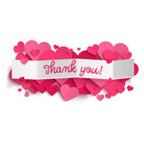 Thank You Text On White Paper Banner And Pink Hearts Royalty Free Stock Images