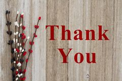 Thank You message on wood. Thank You text with red, white and blue pip floral berry spray on weathered wood royalty free stock photography