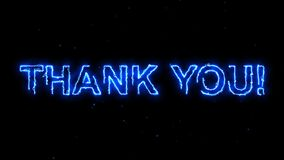 Thank You text revealed electric and futuristic energy hot glowing burning fire motion background