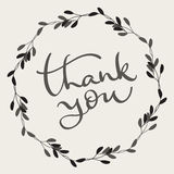 Thank you text with round frame on background. Calligraphy lettering Vector illustration EPS10 Stock Images