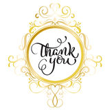 Thank you text with round gold frame on background. Calligraphy lettering Vector illustration EPS10 Stock Photo
