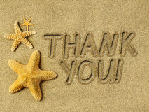 Thank you text on sand. And starfishes Royalty Free Stock Photography