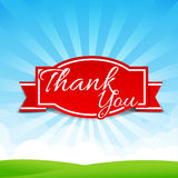 Thank you text with tag ribbon on the nature background 001 Royalty Free Stock Photo