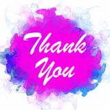 Thank you Text in Watercolor Background royalty free illustration