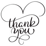 Thank you text on white background. Hand drawn Calligraphy lettering Vector illustration EPS10 Stock Photos