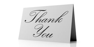Thank you text on white card, isolated on white background. vector illustration
