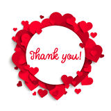Thank you text on white round banner and red hearts Royalty Free Stock Images