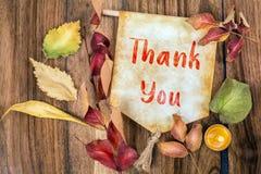 Thank You Text With Autumn Theme Stock Photos