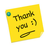 Thank you. Text on yellow post it Stock Photo