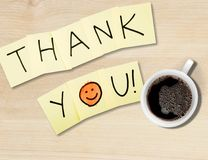 Thank you. Gratitude smiley face admiration thankyou note pad single word royalty free stock image