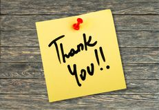 Thank you. Thankyou gratitude note pad adhesive note message love note stock images