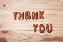 Thank You. Written by chocolate cookies alphabet royalty free stock images