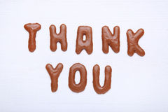 Thank You. Written by chocolate cookies alphabet royalty free stock photos
