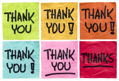 Thank you and thanks notes. Thank you and thanks - a set of isolated crumpled sticky notes in different colors Stock Photography