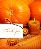Thank you, thanksgiving greeting card. With pumpkin decorations and warm candle light, holiday still life with white copy space Stock Photo