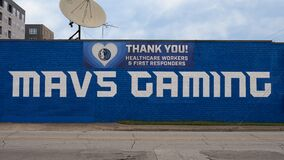 Thank you to healthcare workers and first responders from Dallas Mavericks during the Coronavirus pandemic 2020, Deep Ellum, Texas