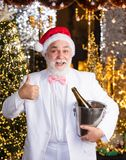 Thank you. tuxedo senior sommelier. new year night might be long. merry christmas to you. lets celebrate. cheerful man