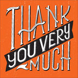 Thank You Type Square. Vector illustration of Thank You Very Much typography with square shape vector illustration